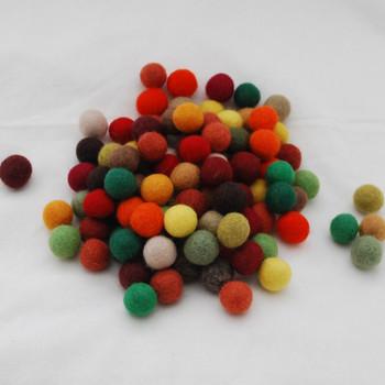 100% Wool Felt Balls - 100 Count - 2cm - Woodland Colours