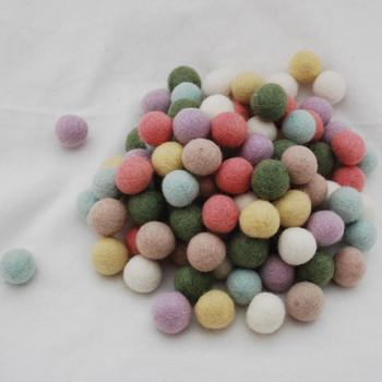 100% Wool Felt Balls - 100 Count - 2cm - Pastel Colours