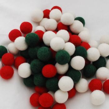 100% Wool Felt Balls - 100 Count - 2.5cm - Christmas Colours - 03