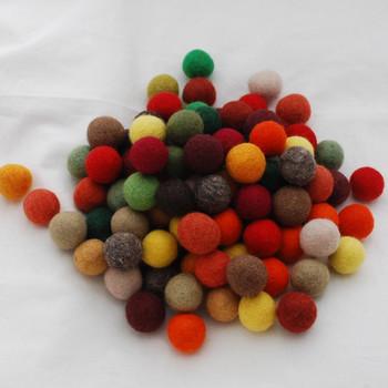 100% Wool Felt Balls - 100 Count - 3cm - Woodland Colours