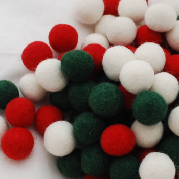 100% Wool Felt Balls - 100 Count - 3cm - Christmas Colours - 03