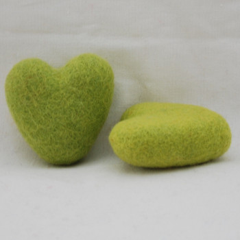 100% Wool Felt Heart - 6cm - 2 Count - Yellow Green