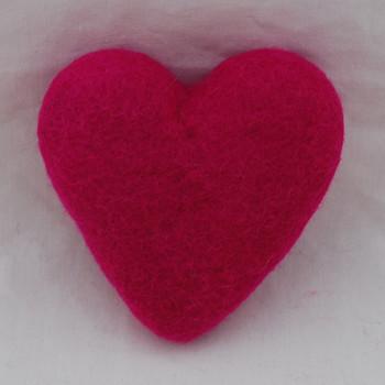 100% Wool Felt Heart - 10cm - Garden Rose Pink