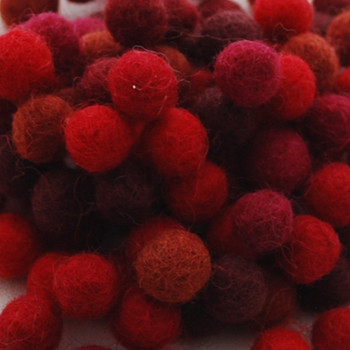 100% Wool Felt Balls - 100 Count - 1.5cm - Red Colours