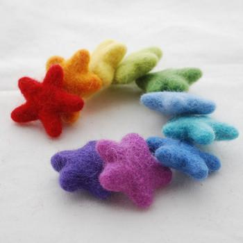 100% Wool Felt Stars - 10 Count - approx 3.5cm - Rainbow Colours