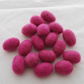 100% Wool Felt Eggs / Raindrops - 10 Count - Victorian Rose Pink