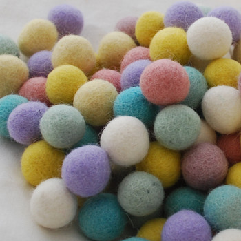 100% Wool Felt Balls - 100 Count - 1.5cm - Assorted Pastel Easter Colours