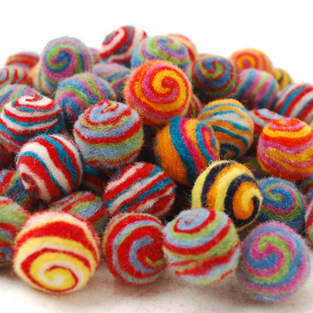 Assorted Stripe Swirl 00% Wool Felt Balls - 100 Count - 2cm