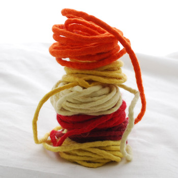 100% Wool Felt Cord - Handmade - 6 Cords - Assorted Ivory Yellow Red Colours