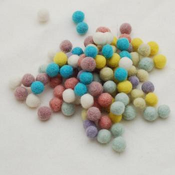 100% Wool Felt Balls - 100 Count - Assorted Pastel Easter Colours - 1cm