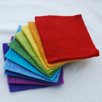 "Handmade 100% Wool Felt Sheets - Approx 5mm Thick - 6"" Square Bundle - Rainbow"