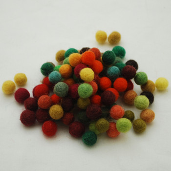 100% Wool Felt Balls - 100 Count - Autumn Woodland Colours - 1cm