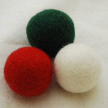 100% Wool Felt Balls - 3 Count - 4cm - Christmas Colours 03