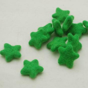 100% Wool Felt Stars - 10 Count - approx 3.5cm - Green Flash