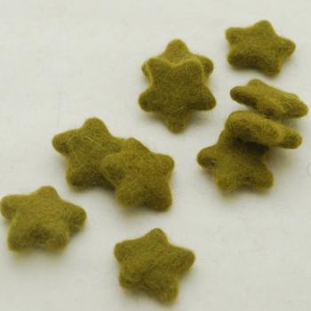 100% Wool Felt Stars - 10 Count - approx 3.5cm - Olive Green