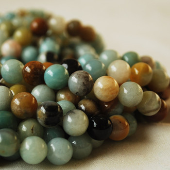 High Quality Grade A Natural Multi-colour Amazonite Semi-precious Gemstone Round Beads 4mm, 6mm, 8mm, 10mm