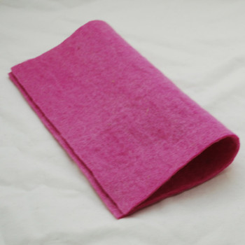 """Handmade 100% Wool Felt Sheet - Approx 5mm Thick - 12"""" Square - Tulip Pink"""