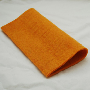 "Handmade 100% Wool Felt Sheet - Approx 5mm Thick - 12"" Square - Orange"
