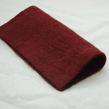 "Handmade 100% Wool Felt Sheet - Approx 5mm Thick - 12"" Square - Dark Wine Red"
