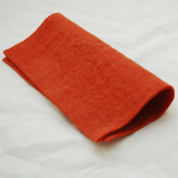 """Handmade 100% Wool Felt Sheet - Approx 5mm Thick - 12"""" Square - Coral Orange"""