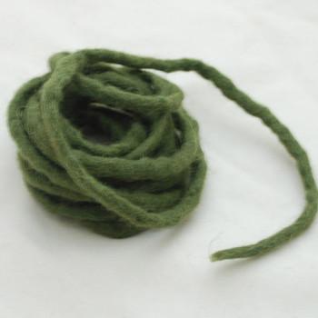 100% Wool Felt Cord - Handmade - 3 Metres - Dark Olive Green