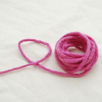 100% Wool Felt Cord - Handmade - 3 Metres - Tulip Pink