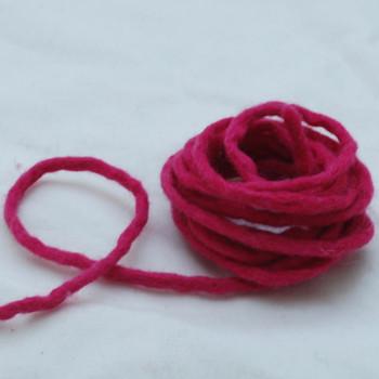100% Wool Felt Cord - Handmade - 3 Metres - Ruby Pink