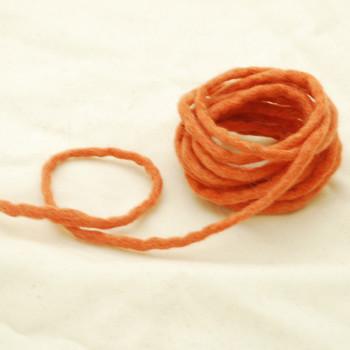 100% Wool Felt Cord - Handmade - 3 Metres - Coral Orange