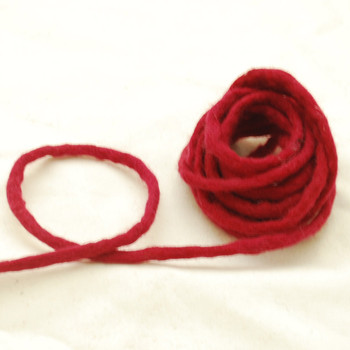 100% Wool Felt Cord - Handmade - 3 Metres - Rosewood Red