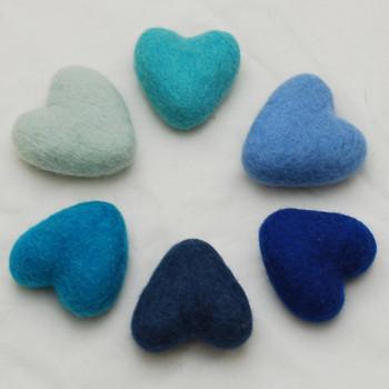 100% Wool Felt Heart - 6cm - Blue Colours - 6 hearts