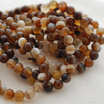 High Quality Grade A Natural Banded Brown Agate Gemstone Round Beads 4mm, 6mm, 8mm, 10mm sizes