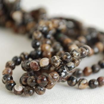 High Quality Grade A Natural Turritella Agate Gemstone Round Beads - 4mm, 6mm