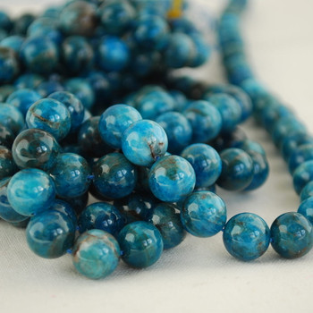 High Quality Grade A Natural Apatite (teal blue) Gemstone Round Beads 4mm, 6mm, 8mm, 10mm sizes