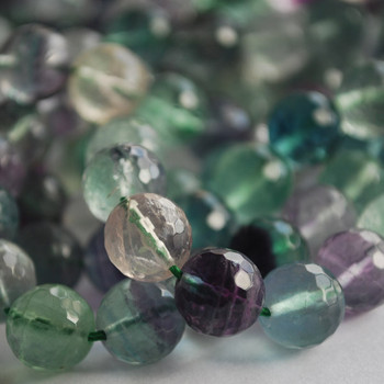 "High Quality Grade A Natural Rainbow Fluorite Faceted Semi-Precious Gemstone Round Beads 6mm, 8mm, 10mm sizes - 15"" long"