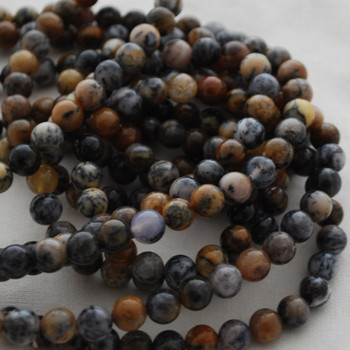 High Quality Grade A Natural Dendritic Opal Gemstone Round Beads 4mm, 6mm, 8mm, 10mm sizes