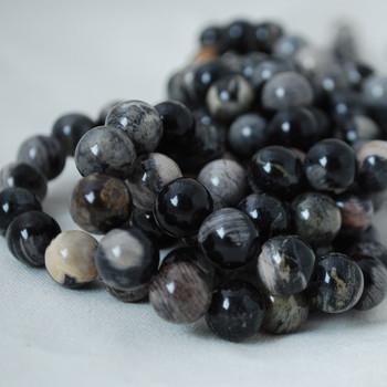High Quality Grade A Natural Black Silver Leaf Jasper Gemstone Round Beads 4mm, 6mm, 8mm, 10mm sizes