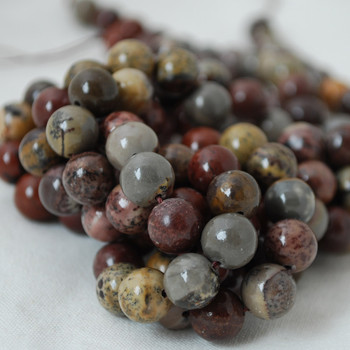 High Quality Grade A Natural Flower Jasper Gemstone Round Beads 4mm, 6mm, 8mm, 10mm sizes