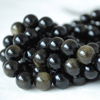 High Quality Grade A Natural Golden Sheen Black Obsidian Gemstone Round Beads 4mm, 6mm, 8mm, 10mm sizes