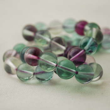 "High Quality Grade AAA Natural Rainbow Fluorite Semi-Precious Gemstone Round Beads - 8mm - 15"" long"