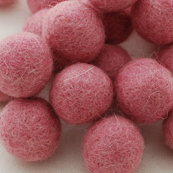 100% Wool Felt Balls - 5 Count - 3cm - Coral Pink