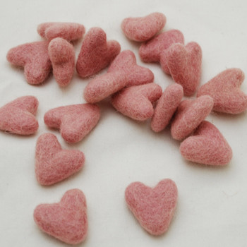 100% Wool Felt Hearts - 10 Count - approx 3cm - Pastel Pink