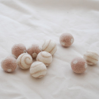100% Wool Felt Balls - Polka Dots & Swirl Felt Balls - 2.5cm - 10 Count - Latte