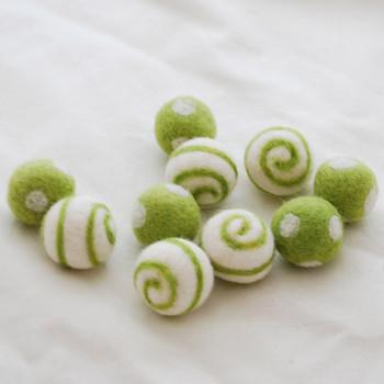 100% Wool Felt Balls - Polka Dots & Swirl Felt Balls - 2.5cm - 10 Count - Yellow Green