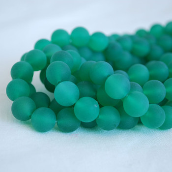 High Quality Grade A Green Agate Frosted / Matte Semi-precious Gemstone Round Beads 4mm, 6mm, 8mm, 10mm sizes