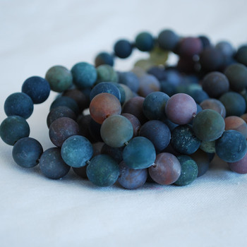 High Quality Grade A Natural Indian Agate Frosted / Matte Semi-precious Gemstone Round Beads 4mm, 6mm, 8mm, 10mm sizes