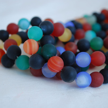 High Quality Grade A Multi-colour Agate Frosted / Matte Semi-precious Gemstone Round Beads 4mm, 6mm, 8mm, 10mm sizes