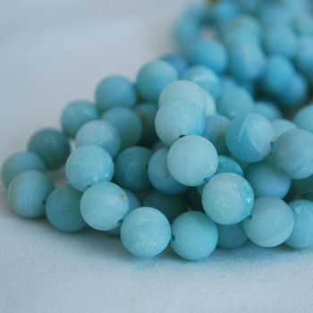 High Quality Grade A Natural Amazonite Frosted / Matte Semi-precious Gemstone Round Beads 4mm, 6mm, 8mm, 10mm sizes