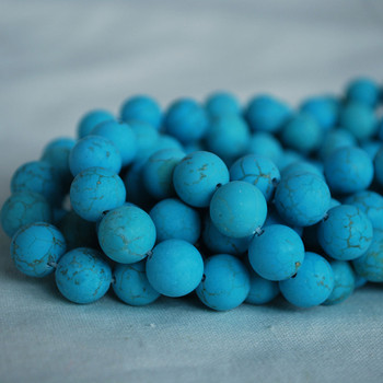 High Quality Turquoise (dyed from natural Chinese Turquoise) Frosted / Matte Semi-precious Gemstone Round Beads 4mm, 6mm, 8mm, 10mm sizes