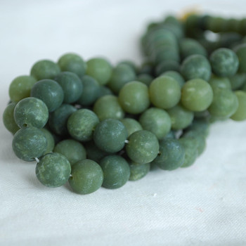High Quality Grade A Natural Nephrite Jade (green) Frosted / Matte Semi-precious Gemstone Round Beads - 6mm, 8mm, 10mm sizes
