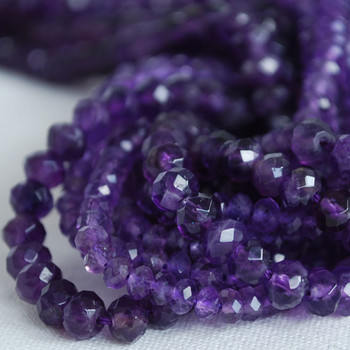 High Quality Grade A Natural Amethyst Semi-Precious Gemstone Faceted Rondelle / Spacer Beads - 4mm, 6mm sizes